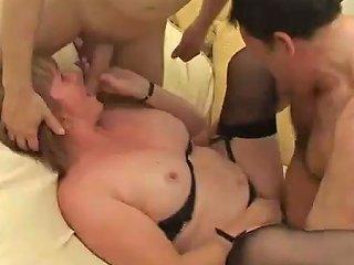 Chunky Mature Skank Enjoys Mmf Threesome Sex Indoors