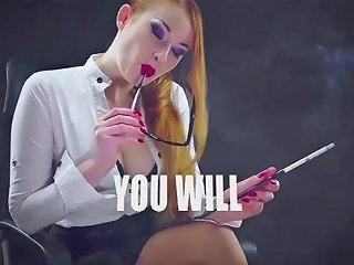 Nicotine Addicted Slut Goddess In Glasses Smokes With Holder