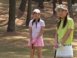 Asian Bitch Takes It From Behind In A Golf Course