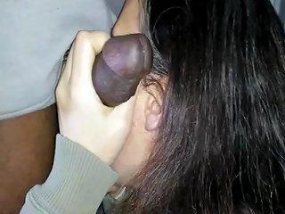 Cuckold White Girl Deepthroats Huge Black Cock Sloppy Bj