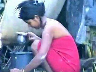 Indian Girl Washing...