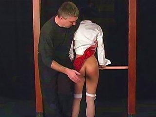 Busty Slender Brunette Is Demonstrating Her Nice Ass