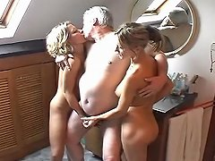 Old Dude With Two Young Hos