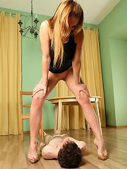 Well-trained Femdom Slave Chugs Down A Big Mouthful Of Steamy Golden Piss